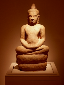 Thai Stone Sculpture of Sitting Figure in Meditation